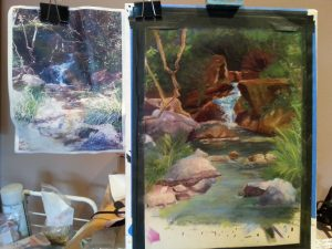 Landscape portrait of water fall in the woods pastel with original photp