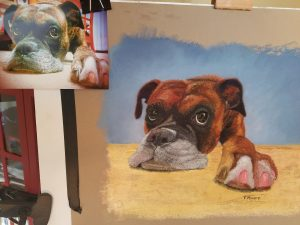 Pet portrait of Jackson the boxer pastel with original photo