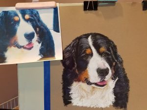 pet portrait of Jack bernese mountain dog pastel with original photo